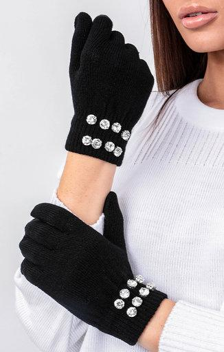 Black Diamante Detail Gloves - Jessie