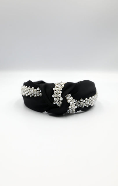 Black Diamante Pearl Twist Front Satin Headband - Tilly