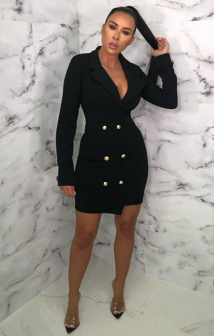 Black Double Button Blazer Dress - Danna