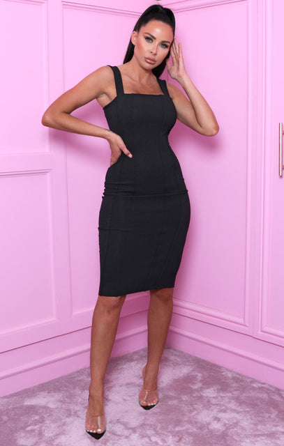Black Exposed Seams Bodycon Dress - Iris