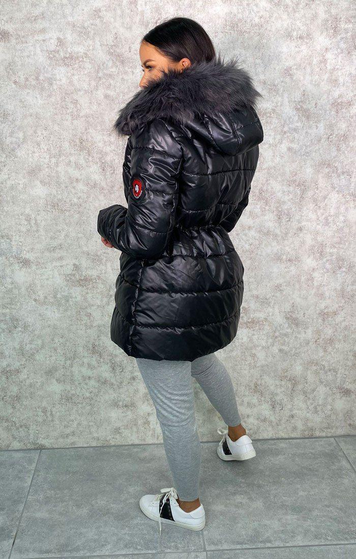 Black Faux Fur Hooded Midi Puffer Jacket - Libby