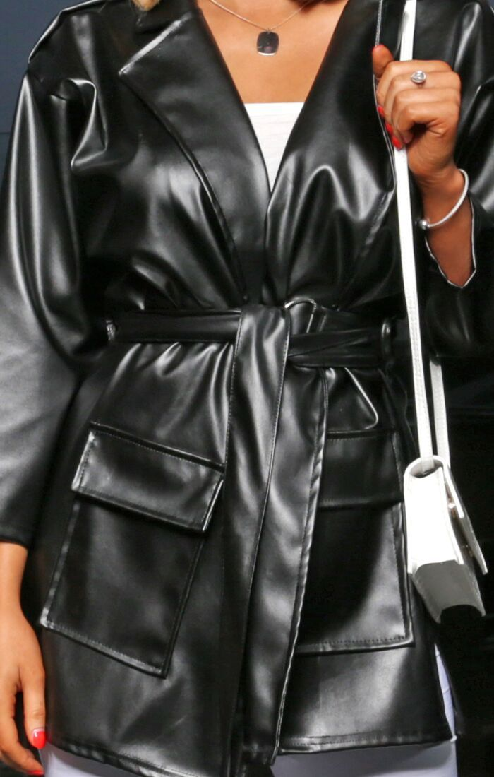 Black Faux Leather Belted Oversized Jacket - Lindsey