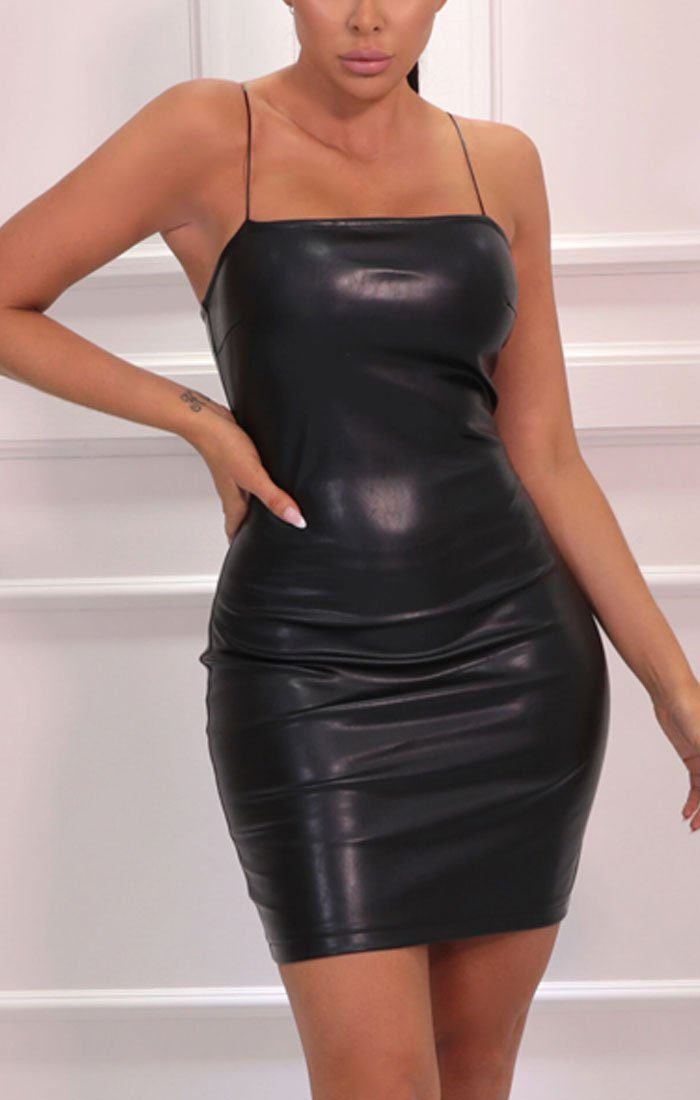 Black Faux Leather Bodycon Mini Dress - Jameie