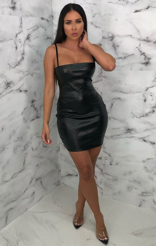 Black Leather Bodycon Dresses