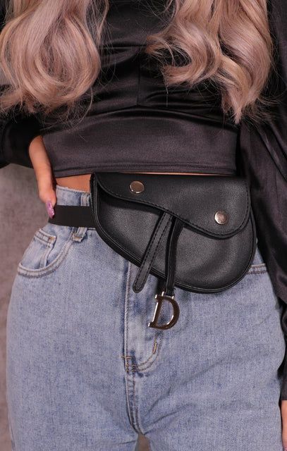 Black Faux Leather 'D' Initial Belt Bag - Kristina