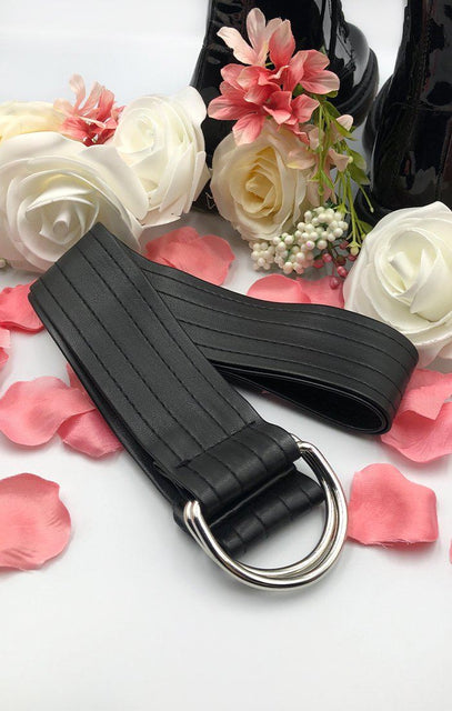 Black Faux Leather D-Ring Belt - Belva