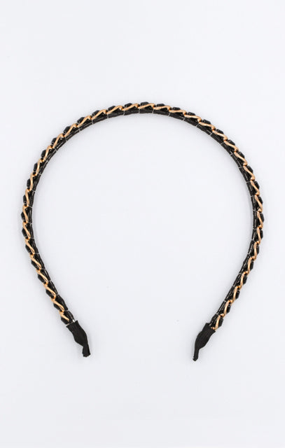 Black Faux Leather Gold Chain Headband - Tanis