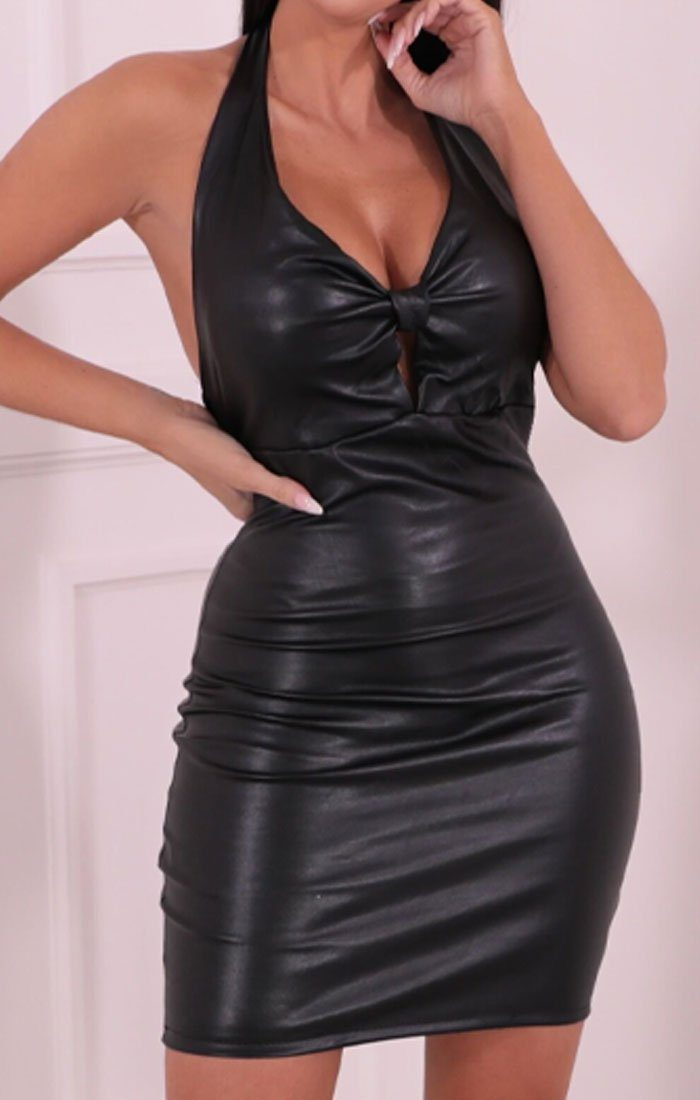 Black Faux Leather Halterneck Plunge Bodycon Mini Dress - Ivy