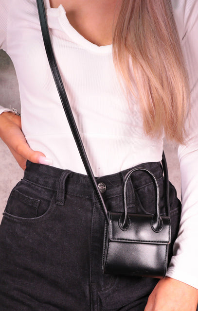 Black Faux Leather Handle Strap Mini Bag - Lauren