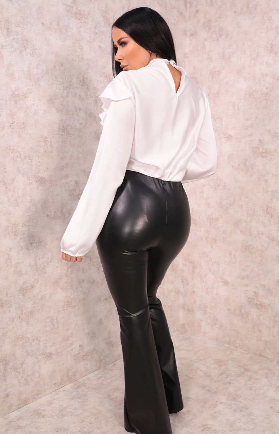 Black Faux Leather High Waisted Flare Leg Trousers - Belinda