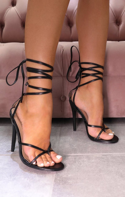 Black Faux Leather Lace Up Toe Ring Heels - Grazia