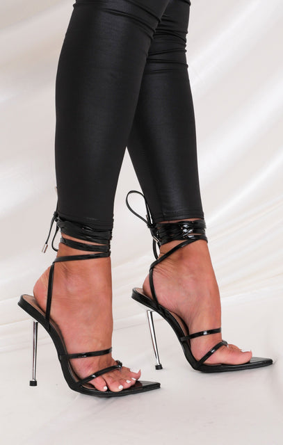 Black Faux Leather Pointed Lace Up Heels - Matilda