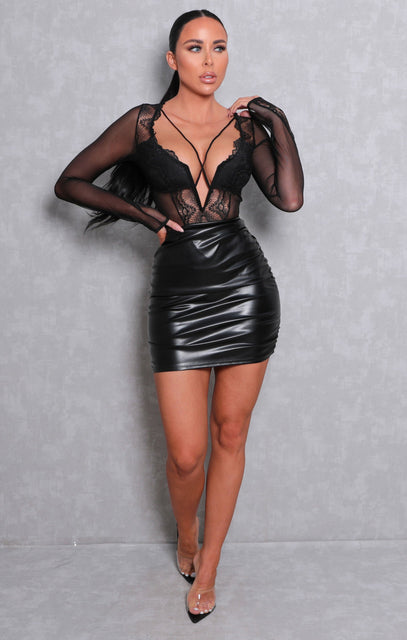 Black Faux Leather Ruched Side Mini Skirt - Maximus