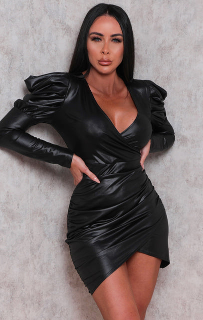 Black Faux Leather Ruched Wrap Puff Sleeve Mini Dress - Ciara