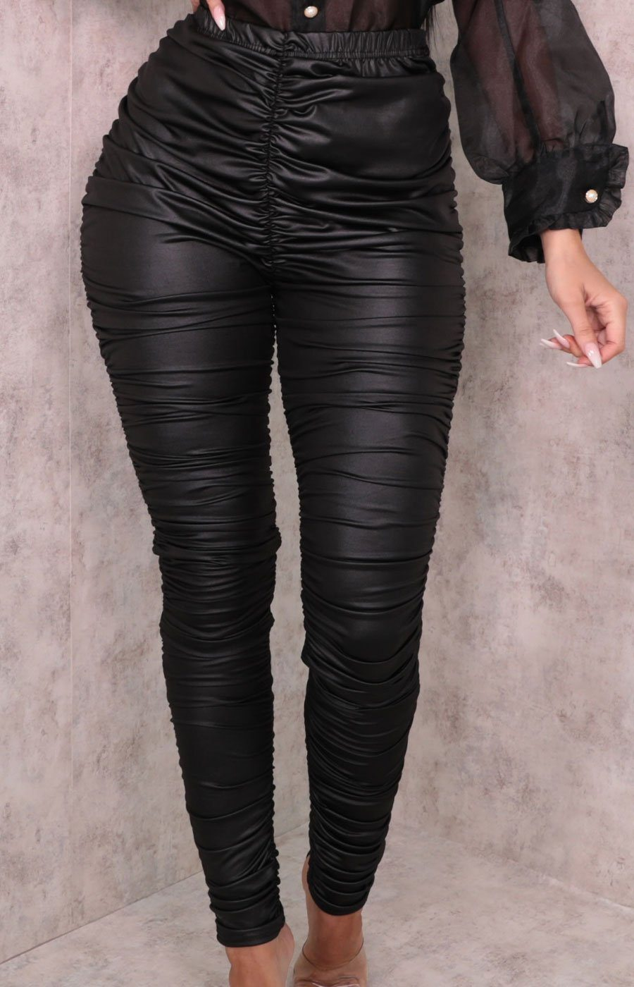 Black Faux Leather Ruffle High Waisted Trousers - Frankie