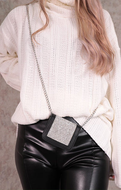 Black Faux Leather Silver Diamante Square Mini Bag - Sophie