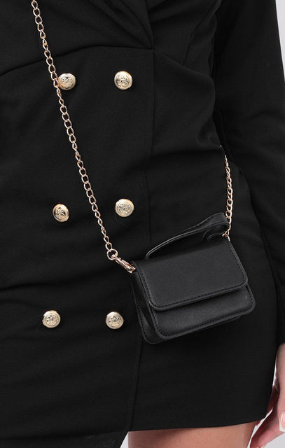 Black Faux Leather Super Mini Bag - Katie