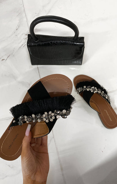 Black Faux Suede Tassel Gemstone Sandals - Kacey