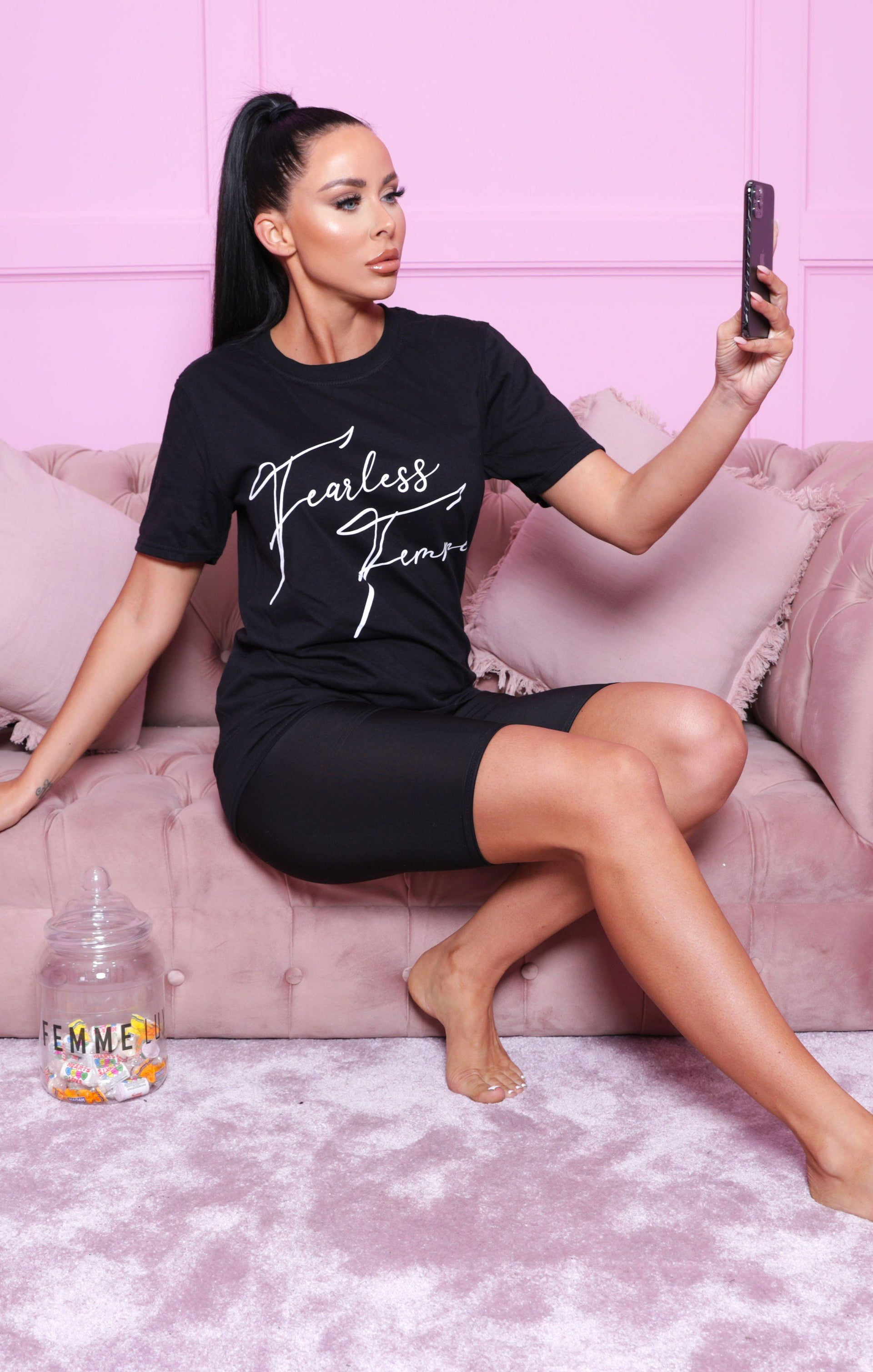 Black 'Fearless Femme' Oversized T-Shirt - Lily