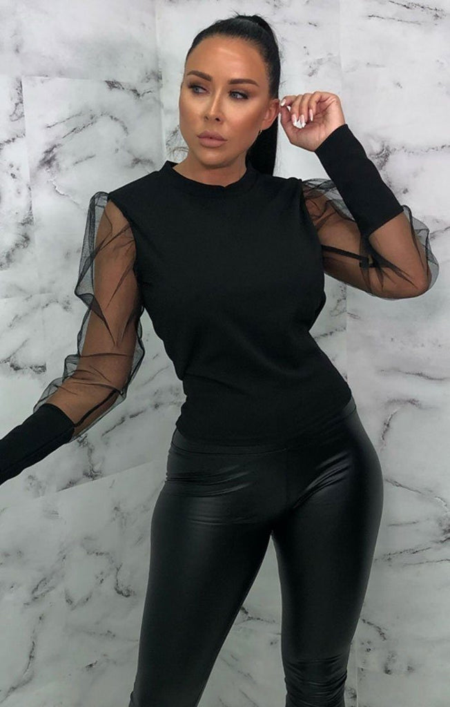 Black Organza Sleeve Top   Cyrus by Femme Luxe