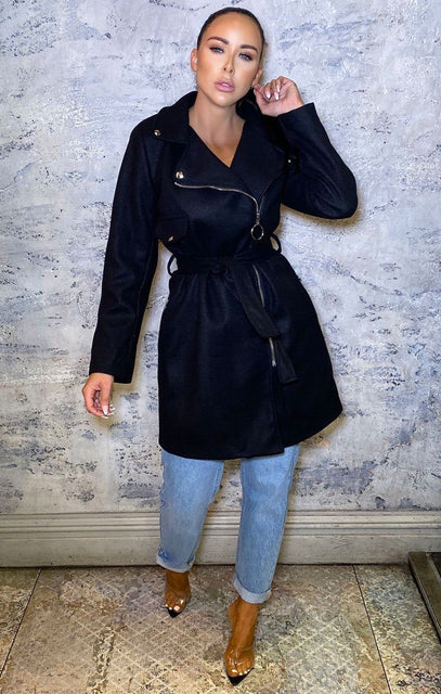 Black Fleece Zip Detail Belted Trench Coat - Charlotte