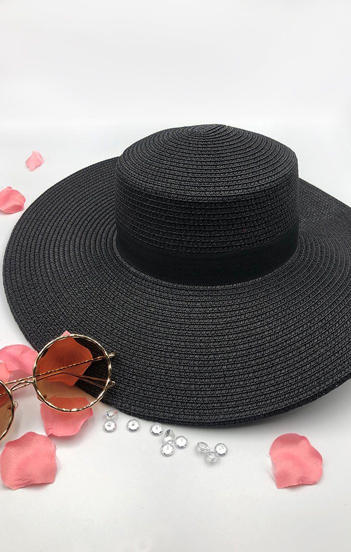 Black Floppy Straw Hat - Blaze