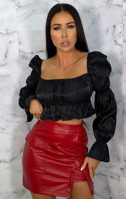 Black Frill Puff Sleeve Crop Top - Abbie