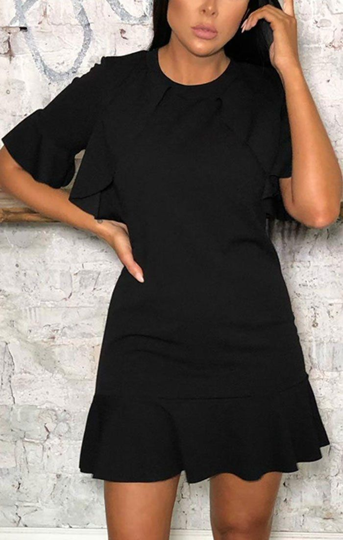 Black Frill Short Sleeve Shift Mini Dress - Blaine