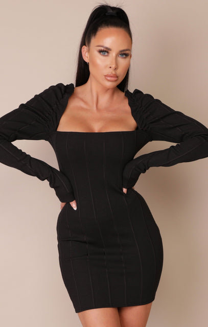 Black Frill Sleeve Ribbed Bodycon Mini Dress - Julieta