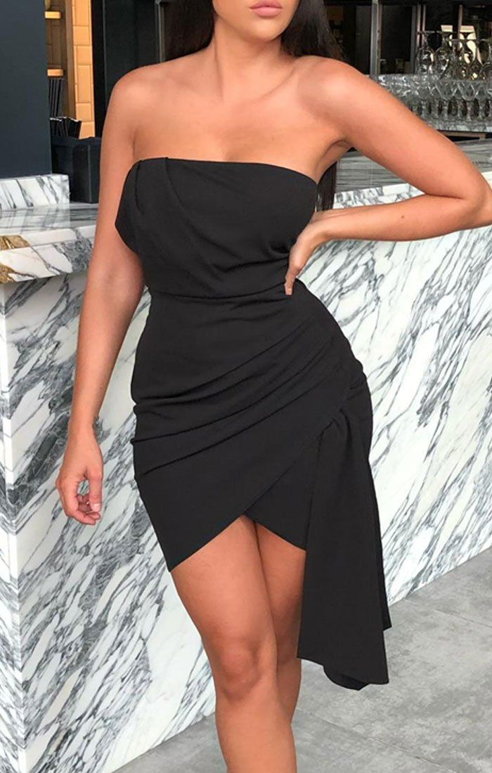 Black Front Pleat Strapless Mini Dress - Cora