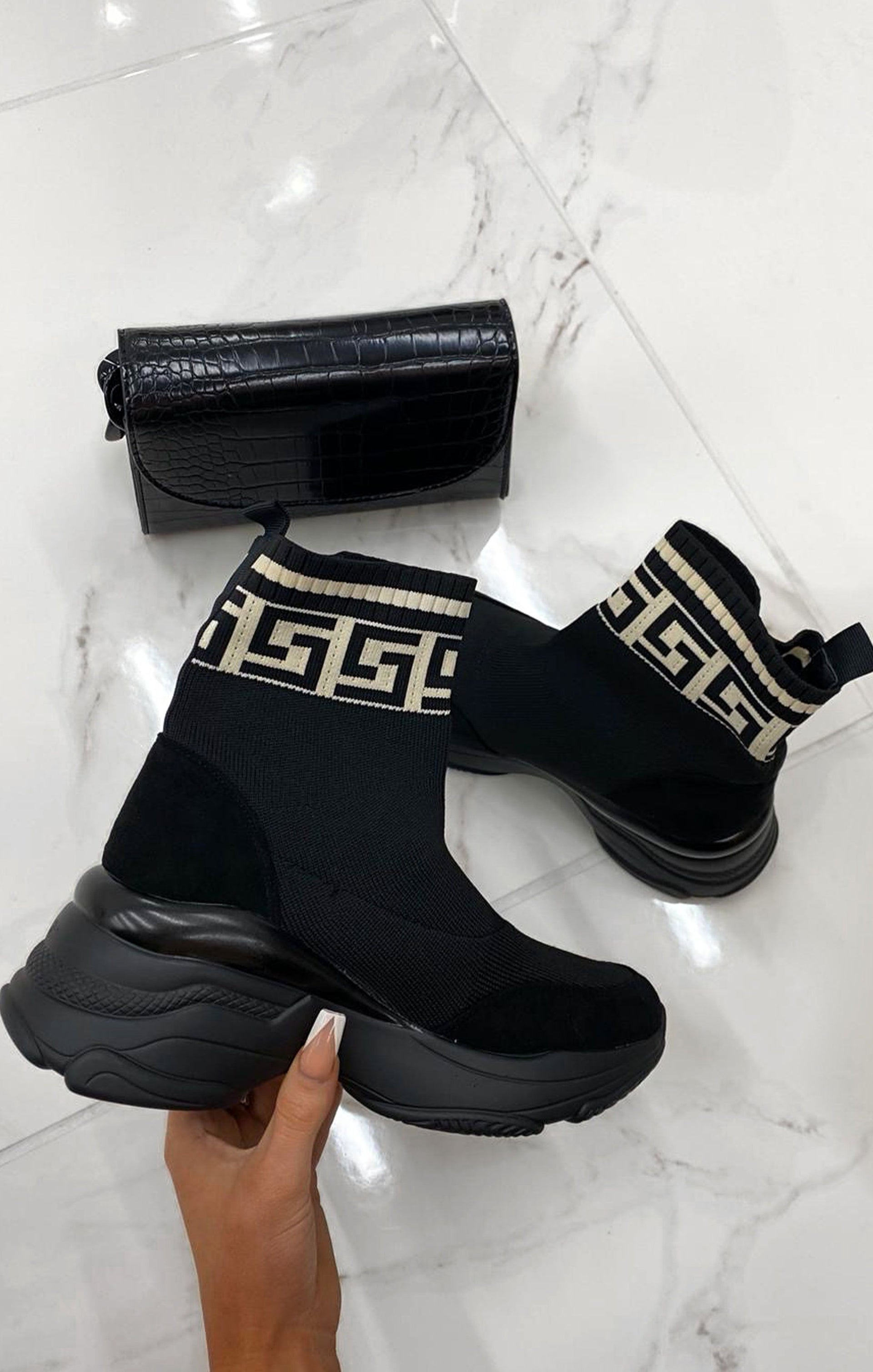 Black Geometric Cream Sock Chunky Sole Boots - Keely