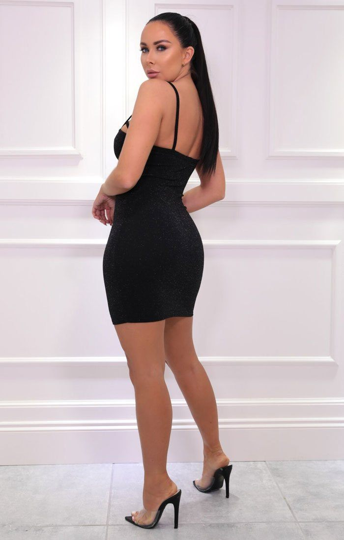 Black Glitter Cut Out Cup Strappy Bodycon Mini Dress - Dottie