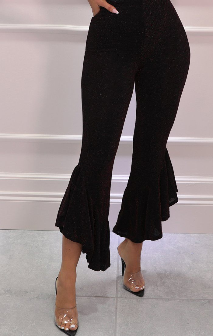 Black Glitter Frill Flare High Waisted Trousers - Arabella
