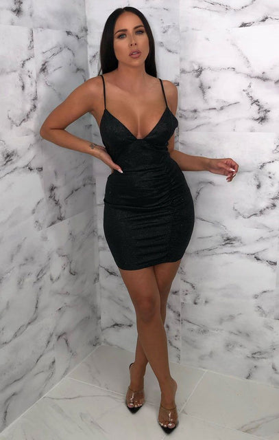 Black Glitter Sparkly Plunge Bodycon Mini Dress - Meredith