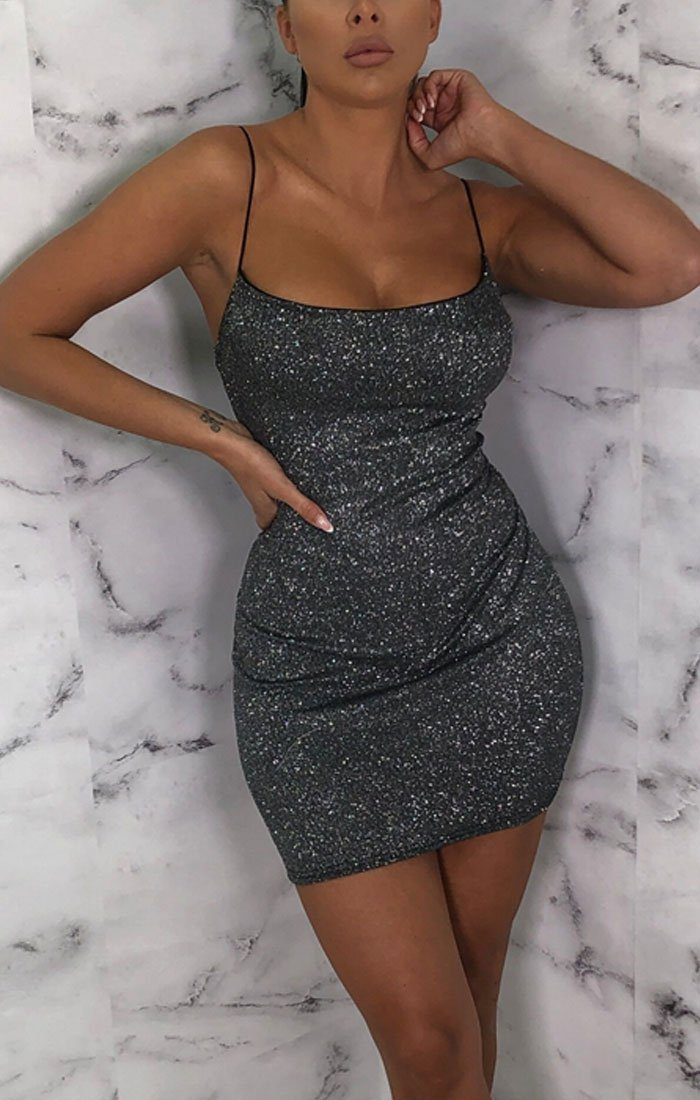 Black Glitter Thin Strap Bodycon Mini Dress - Reid