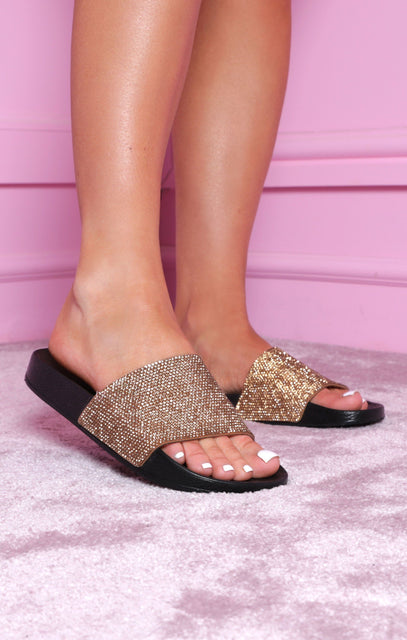 Black & Gold Glitter Slides - Maura
