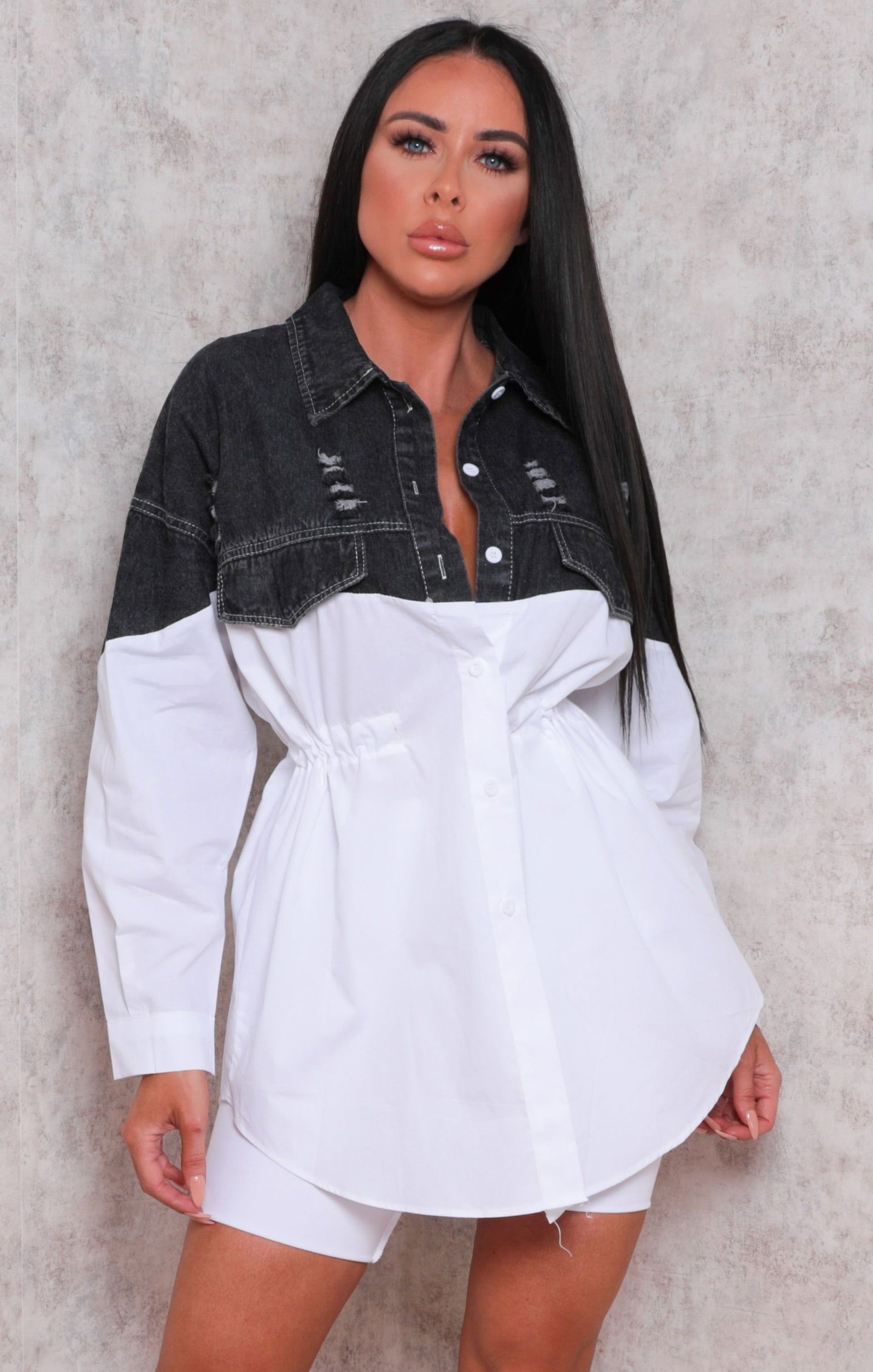 Black Half Denim Distressed Button Up Shirt Dress - Kimani