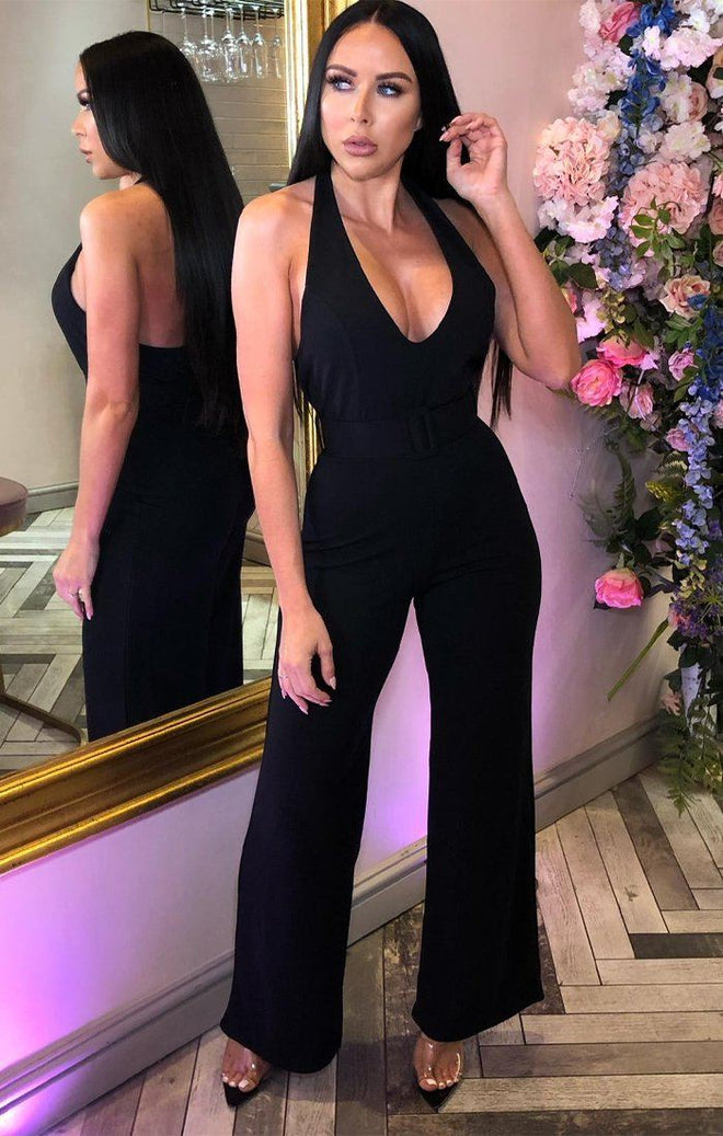 Black Halter Neck Belted Jumpsuit - Monica