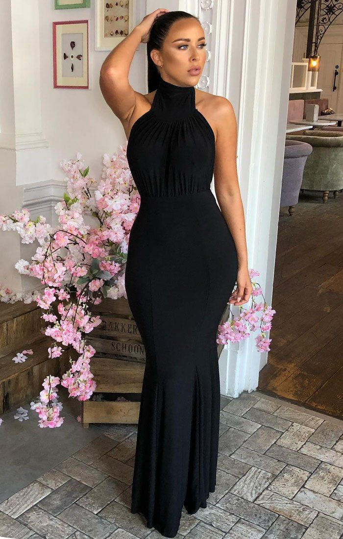 Black High Neck Bodycon Maxi Dress - Deandra