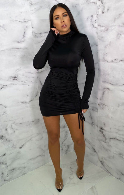 Black High Neck Ruched Side Bodycon Mini Dress - Tasmin