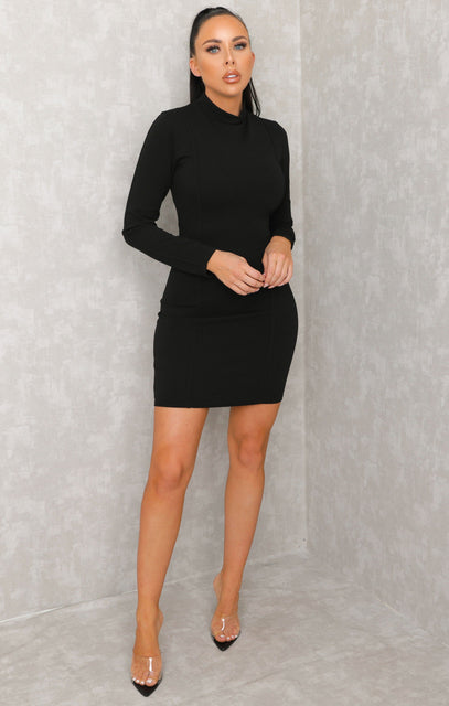 Black High Neck Seam Detail Long Sleeve Dress - Juliette