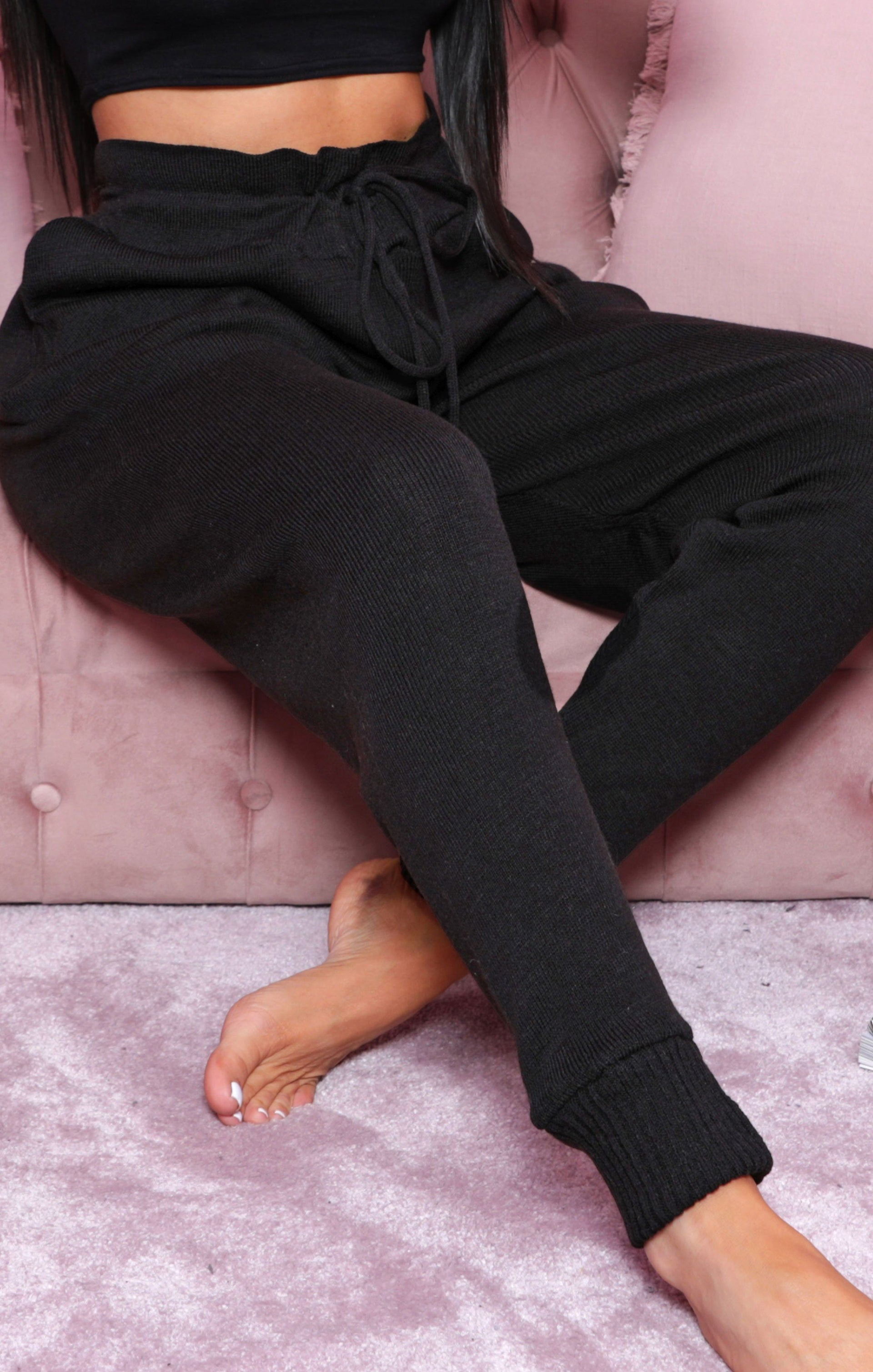 Black High Waisted Cuffed Knitted Joggers - Saige