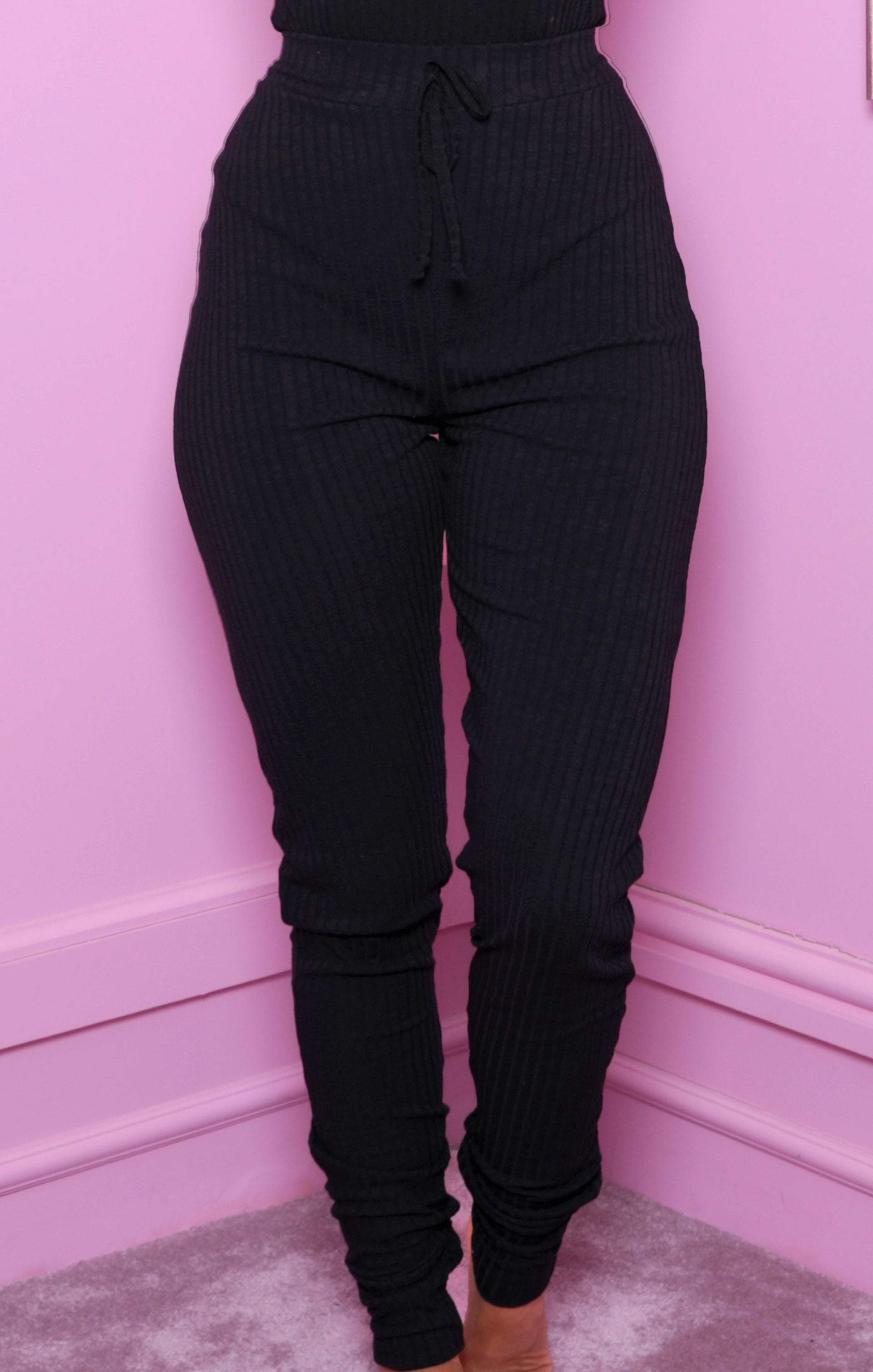 Black Ribbed Cuffed High Waisted Leggings - Kenzie