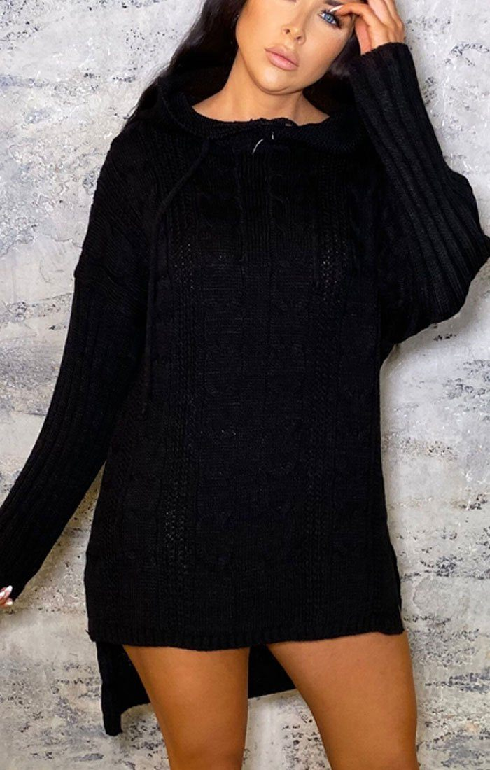 Black Knitted Hoodie Drop Hem Jumper Dress - Agatha
