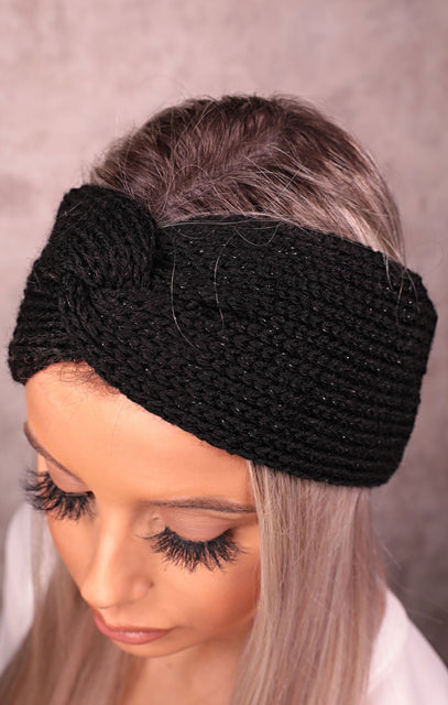 Black Knitted Knot Front Metallic Headband - Fiona