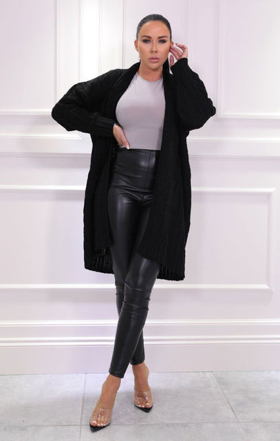 Black Knitted Long Line Cardigan - Vicki