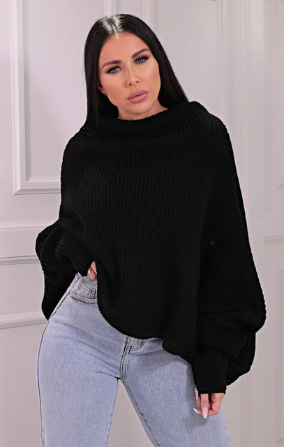 Black Knitted Oversized Jumper - Brea