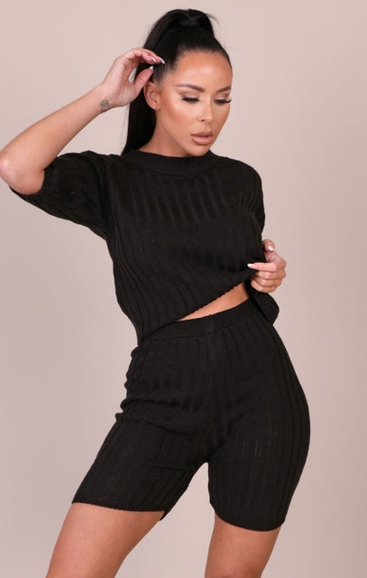 Black Knitted Ribbed Shorts Co-ord - Celeste