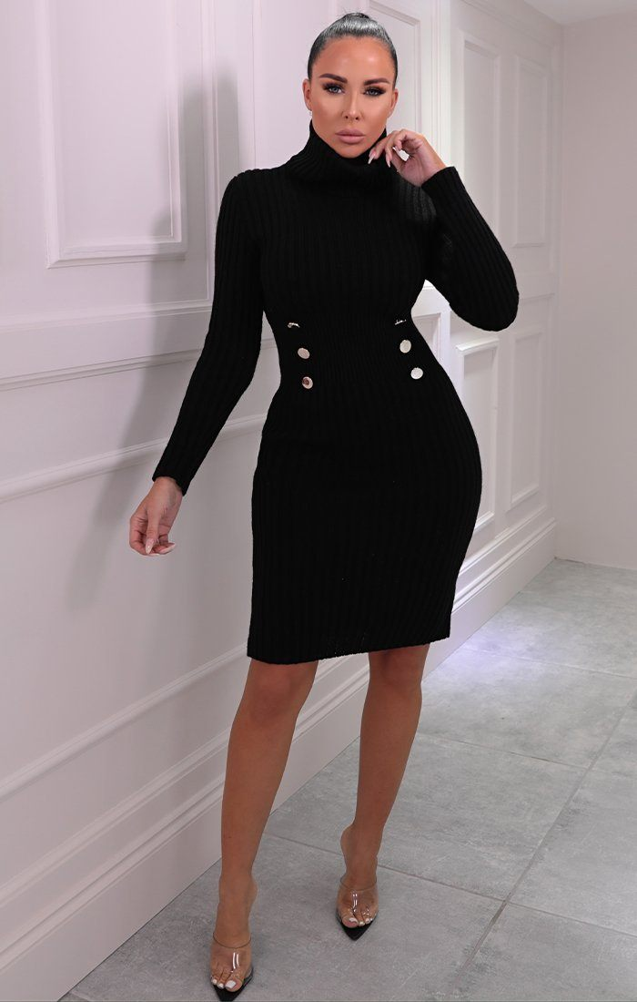Black Knitted Roll Neck Button Detail Midi Jumper Dress - Mindy