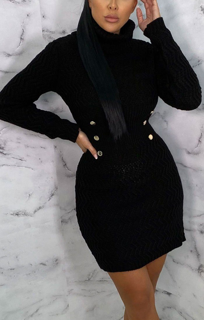 Black Knitted Roll Neck Button Detail Mini Jumper Dress - Evelyn